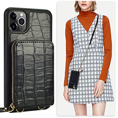 JLFCH iPhone 11 Pro Max Wallet Case, iPhone 11 Pro Max Crossbody Case with Zipper Card Slot Holder Wrist Strap Lanyard Crocodile Grain Protective Purse for Apple iPhone 11 Pro Max 6.5 inch - Black