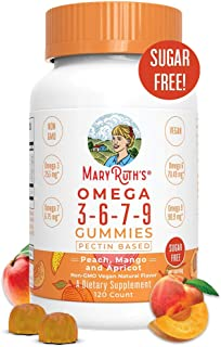 Vegan Omega 3-6-7-9 Gummies Supplement (Plant Based) by MaryRuth's Organic Ingredients, Non-GMO, Gluten Free for Men, Wome...