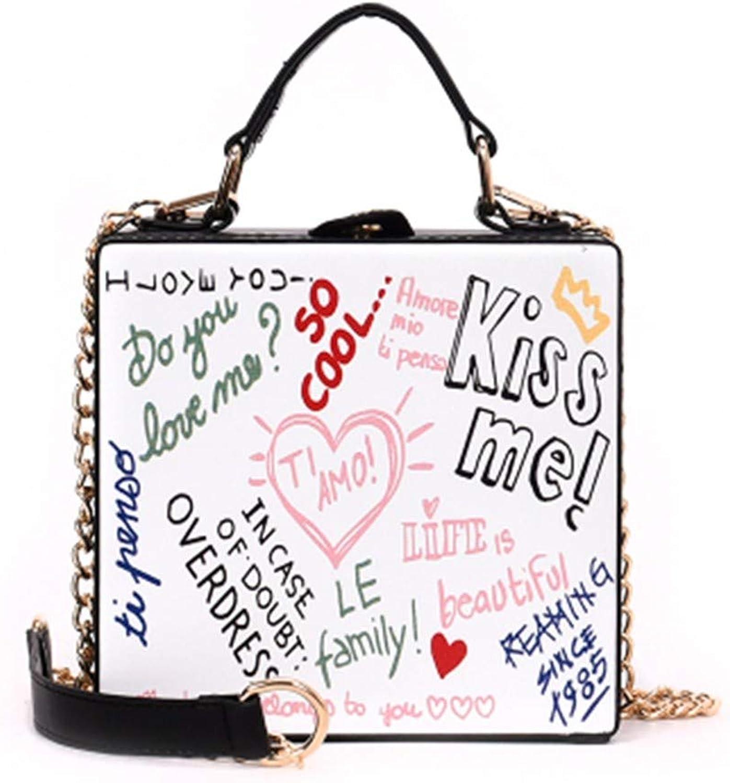 FUFUFUCHEN Vintage Mode Brief Druck Leder Box Form Damen Handtasche Schultertasche Lässig Crossbody Umhängetasche B07KZVKX2K  Angenehmes Gefühl