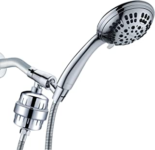 G-Promise Luxury Filtered Handheld Shower Head, Shower Set 6 Spray Showerhead with 10-Stage Filter of 2 Cartridges, Adjustable Metal Bracket, Extra Long Stretchable Hose, Chrome (Chrome with Filter)
