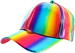 Mozlly Unisex Futuristic Rainbow Iridescent Reflective Baseball Snapback Cap - Shiny Adjustable Back Colorful Changing 80s Cosplay Holographic Galaxy Rave Hip Hop Costume Hat for Adults Men Girls Boys