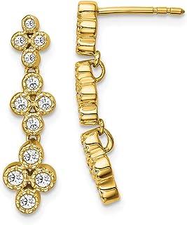 14k Yellow Gold True Origin Lab Grown Diamond VS/SI, D E F, Bloom Fashion Dangle Earrings