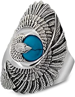 Jade Angel Thai Silver Eagle Vintage Style Men's Ring with Turquoise