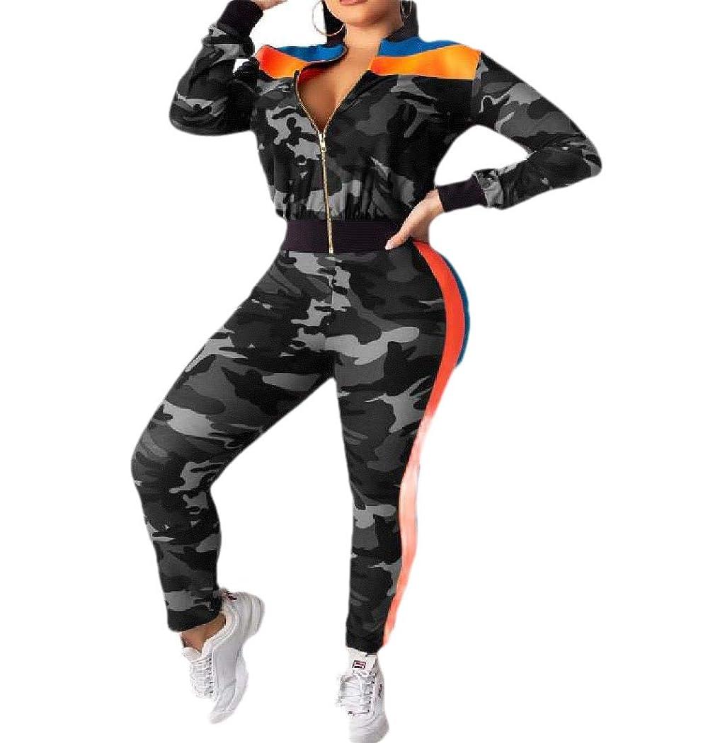 感度快い未満VITryst Womens Camo Athletic 2 Piece Casual Fleece Sweatsuit with Zips