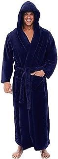 Padaleks Mens Luxury Long Robes with Hood Full Length Hooded Bathrobe Fleece Plush Fluffy Housecoat Nightgown