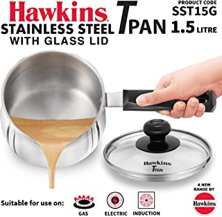 Hawkins Induction Base Stainless Steel T Pan with Lid, 1.5 Liters, Silver (SSTP15 )