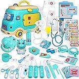 Anpro 50Stk Arztkoffer Medizinisches Spielzeug Spielzeugautomodelle Rollenspiel Spielzeug Set, Arztkoffer Doktor Spielset Rollenspiel Kit Geschenke für Kinder (Blau)