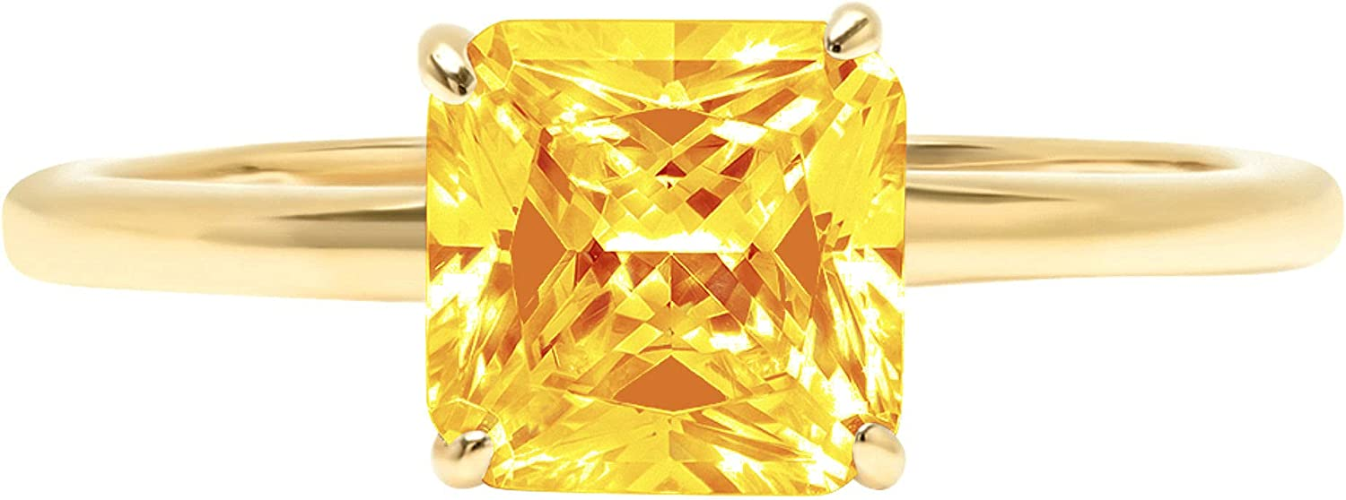 0.9ct Brilliant Asscher Cut Solitaire Natural Yellow Citrine Ideal VVS1 4-Prong Engagement Wedding Bridal Promise Anniversary Ring Solid 14k Yellow Gold for Women