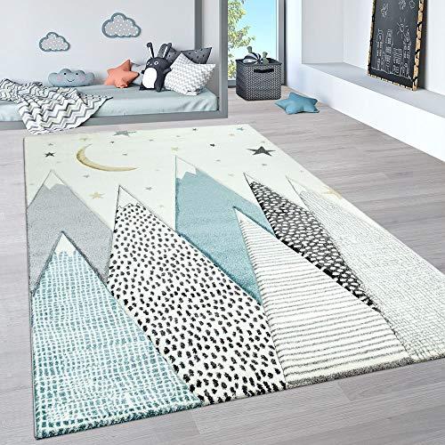 Paco Home Kinderteppich, Kinderzimmer Pastell Teppich mit 3D Wolken u. Stern Motiven, Grösse:140x200 cm, Farbe:Creme