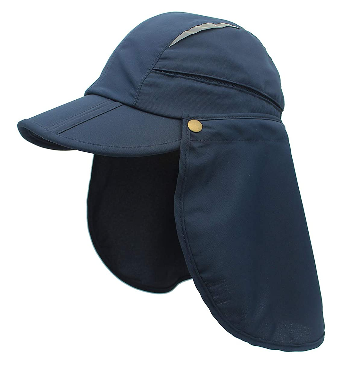 OUTFLY Unisex Outdoor Fishing Hat Polyester UPF 50+ Sun Protection Cap Beach Hats with Removable Neck Flap
