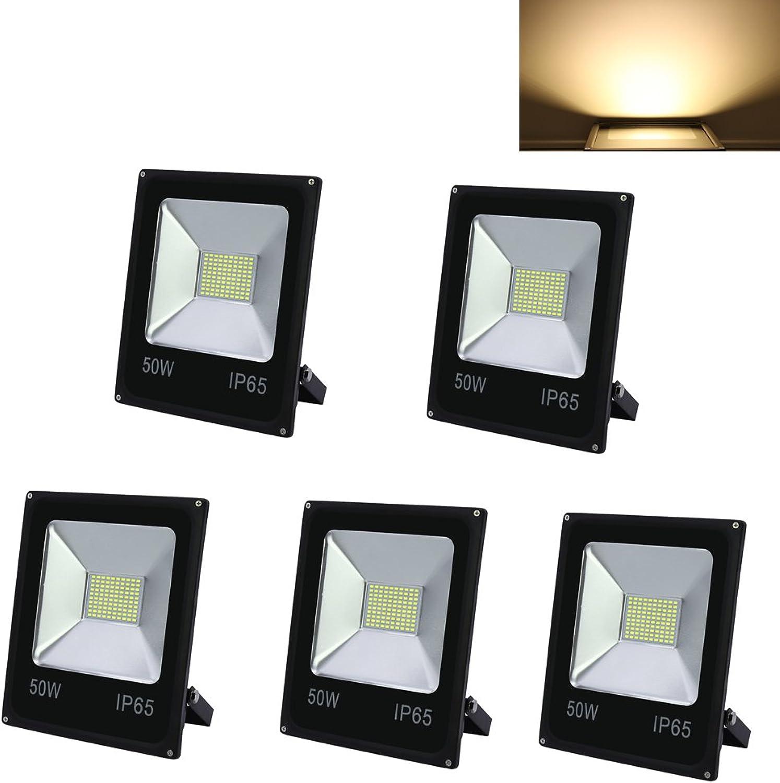 HG 5 Stück 50W LED Fluter SMD Strahler Auenleuchte IP65 Wasserdicht Warmwei Beleuchtung Fassadenstrahler Leuchtmittel [Energieklasse A++]