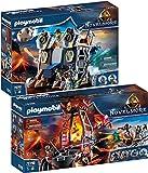 PLAYMOBIL Novelmore Set de 2 Juegos 70390 70391 Mina de Lava de los Bandidos de Burnham + Fortaleza Móvil