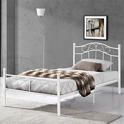 [en.casa] Cama de Metal 90x200 Blanca Armazón Cama Estructura Base con Somier