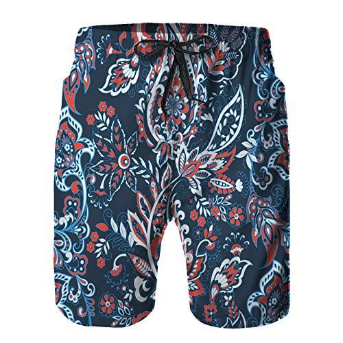 Aerokarbon Hombres Playa Bañador Shorts,patrón de Vector Transparente de Flores étnicas Paisley,Traje de baño con Forro de Malla de Secado rápido M