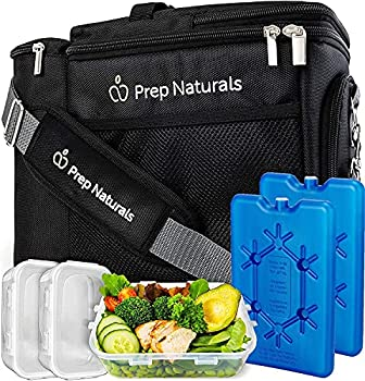 Insulated Lunch Box For Men - Meal Prep Lunch Bag Women / Men Small Cooler Bag Includes 3 Lunch Containers and Ice Packs Adjustable shoulder strap By Prep Naturals