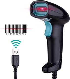 Handheld 1D Barcode Scanner USB Wired Bar Code Reader Manual/Auto Continuous Scan Compatible with Linux Windows for Superm...
