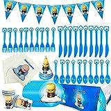 78pcs Baby Temática Party Supplies Decoraciones de Vajilla para Fiestas,se Aplica a Fiestas de cumpleaños de niños, Decoraciones de Mesa, Fiestas de Barbacoa(BossBaby)