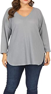 Women Plus Size Lightweight Knit Sweaters Shirt Long Sleeve Blouse Pullover Top