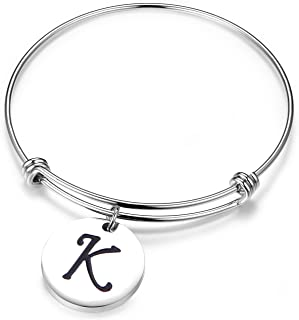 SEIRAA Initial Bracelet Letter Bracelet Expandable Wire Bangle Bracelet with Heart Charm