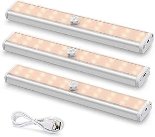 Bewegingssensor onder kastverlichting 3-pack, Fansteck USB oplaadbare continue verlichting met 60 LED's, nachtverlichting ...
