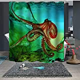 Chickwin Duschvorhang Anti-Schimmel und Wasserdicht, 3D Meerestier Krake Drucken Waschbar Polyester Duschvorhang mit 12 Duschvorhangringe für Badezimmer (180x180cm,Grüner Meeresboden)