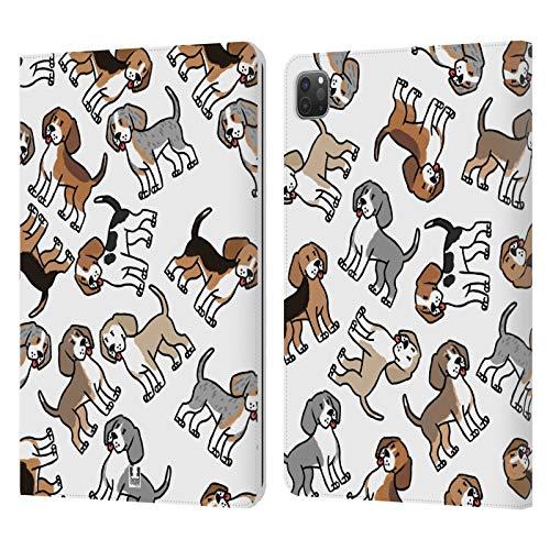 Head Case Designs Beagle Patrones de Raza de Perro Carcasa de Cuero Tipo Libro Compatible con Apple iPad Pro 11 (2020/2021)