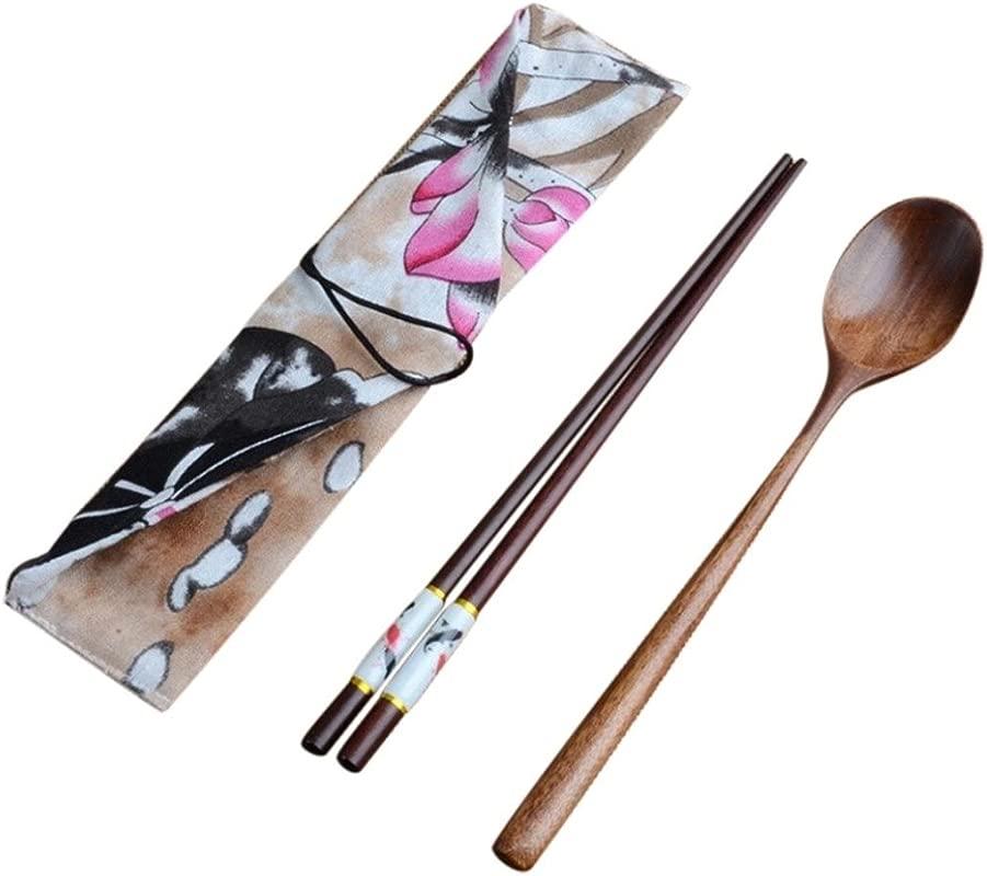 YJYdada Japanese Vintage Wooden Chopsticks Spoon Tableware 2pcs Set New Gift A