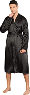 YAOMEI Mens Dressing Gown Bathrobe Kimono Satin Full Length, Mens Silky Long Sleeves Kimono Robes Pure Color Sleepwear Nig...