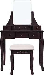 VASAGLE Vanity Table Set with Large Frameless Mirror, Makeup Dressing Table Set for Bedroom, Bathroom, 5 Drawers and 1 Removable Storage Box, Cushioned Stool, Walnut URDT25WN