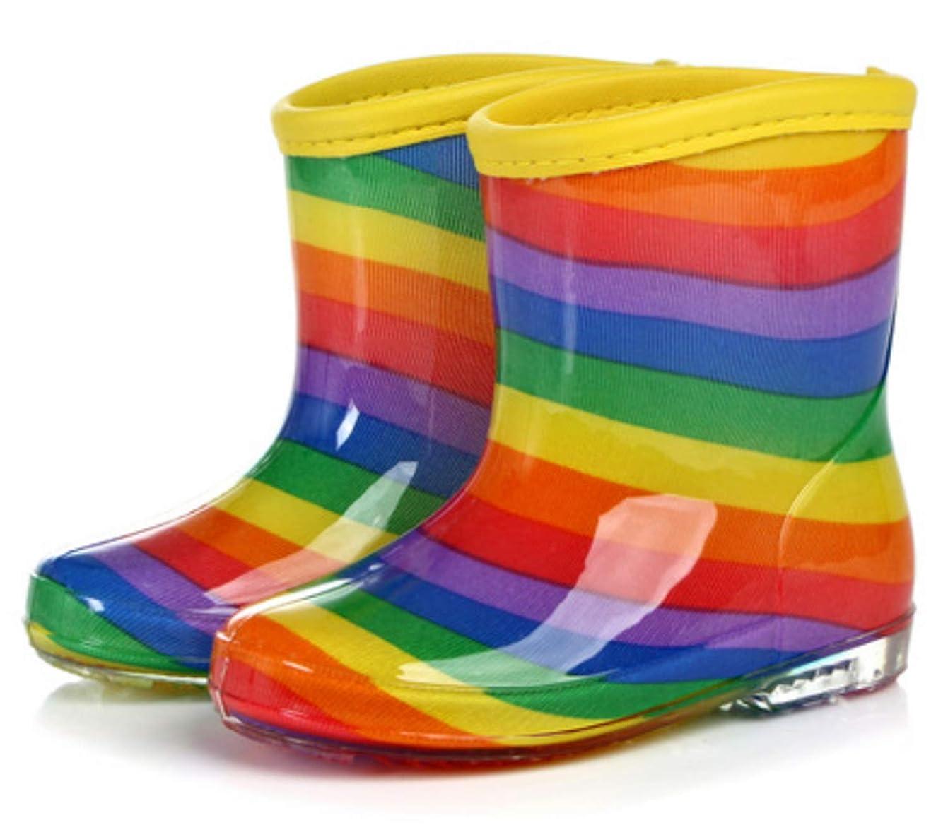 タブレット着る不条理[Yogly] (ヤンググロリ) キッズレインシューズ Rainbow 長靴 レインブーツ レインシューズ かわいい パターン キッズ 女の子 男の子 ジュニア 長靴 雪 子供靴 15cm 16cm 17cm 18cm 19cm 20cm 21cm