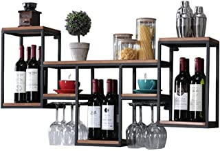 Wall Wine Shelf Metal Iron for Bar | Wood Wine Glass Holder | Wine Stand | Goblet Holder | Wall-Mounted Wine Cooler | Wall...