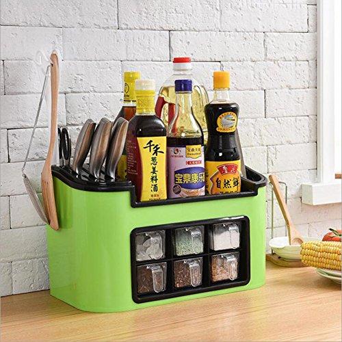 étagère de cuisine,Boîte de stockage de zone d'assaisonnement Jeu de bouteille d'épice-vert