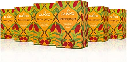 Pukka Three Ginger, Organic Herbal Tea With Galangal & Turmeric (6 Pack, 120 Tea Bags)