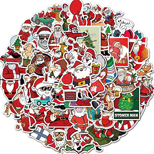 Santa Claus Stickers Pack of 50 Stickers for Laptops, Christmas Decorations Laptop Stickers for Laptops, Computers, Hydro Flasks, Skateboard and Travel Case