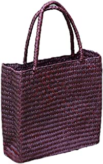 Artibetter 1 Pc Straw Bags, Hand-woven Tote Bag for Women Round Handle Ring Toto Retro Summer Beach Straw Bag (Yellow)