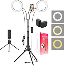 "Ring Light with Tripod Stand and 2 Phone Holders, iMartine 8"" LED Selfie Ring Light for Laptop for Vlog/Makeup/YouTube/Vid..."