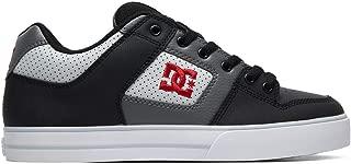 DC Men's Pure Skate Shoe, Black/Grey/red, 11.5 M US