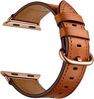 CINORS Leather Band Compatible with Apple iWatch 38mm Women Genuine Leather Bands Wrist Strap with Rose Gold Buckle for Apple Watch Series 3 2 1 (Brown Leather Rose Gold Clasp)