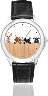 InterestPrint Funny Puppy Dog Waterproof Women's Stainless Steel Classic Leather Strap Watches, Black