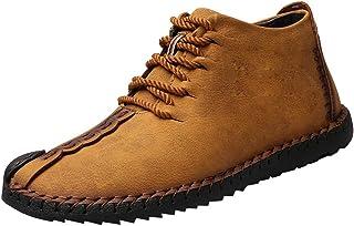 Bottes Hautes Homme Vintage Mode Pas Cher Boots Cuir A Lacets Bottines LéGèRes Outdoor Souples Chaussures De Ville
