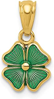 14k Yellow Gold Green Enameled Four Leaf Clover Pendant Charm Necklace Celtic Claddagh Fine Jewelry Gifts For Women For Her