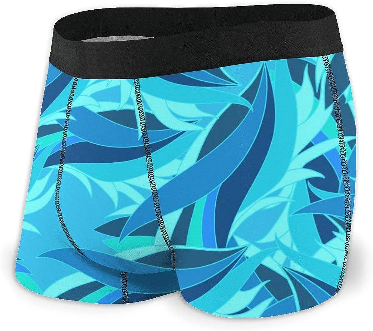 Mens Boxer Briefs Seamless Waves. Boys Trunks Underwear Short Leg Breathable Man