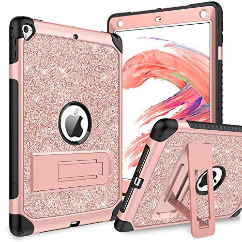 BENTOBEN iPad Air 2 Hülle, iPad 9.7 2017/2018 Hülle, iPad 9.7 Glitzer Hülle mit faltbarem Kickstand 3 IN 1 Hybrid PC Schale Silikon Schutzhülle für iPad 9.7 2017/2018/Pro 9.7/Air 2 Rosegold