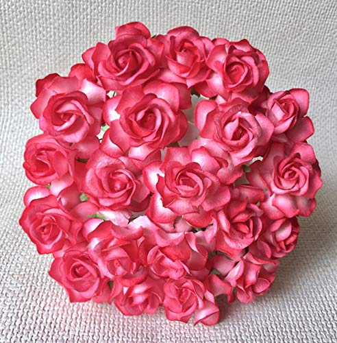 20 pcs Big rose reddish-pink Mulberry Paper Flower 40 mm scrapbooking wedding doll house supplies card by Thai decorated.