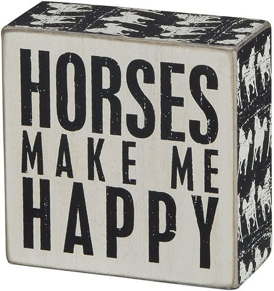 原语由 Kathy Horse Print 修剪的盒子标志 4X5 英寸