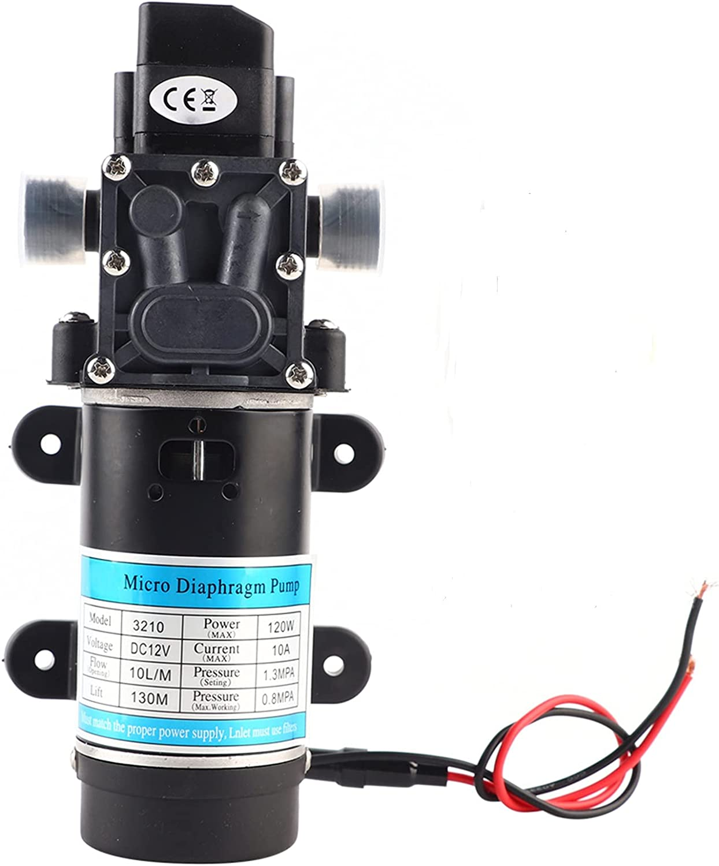 Bomba de Agua Autocebante, 12V/24V 120W 10L/M Bomba de Agua de Diafragma Bomba de Agua de Alta Presión Bomba de Agua Eléctrica(12V / 10A)
