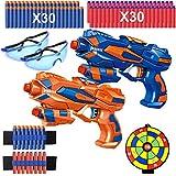 2er Set Pistole Kinder, Spielzeug Blaster Pistolen mit 60 Schaumstoffpfeilen + 2 Schutzgläser + 2...