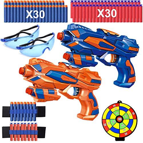 2 Pcs Pistola de Juguete para Niños, Pistola Bláster con 60 Flechas/Balas + 2 Gafas Protectoras, Pistola de Dardos Espuma Infantil, Juegos de Ninos Disparar, Regalo de Cumpleaños Niños Niñas 3-10 Años