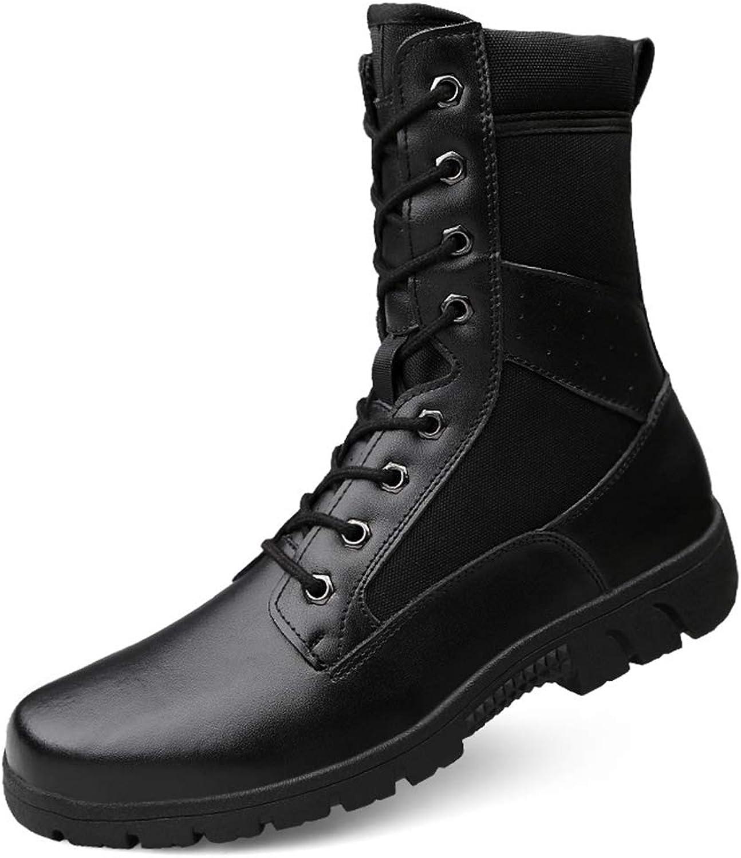 High Boots Men's Boots England Long Boots Leather High Boots Long Tube Martin Boots Leather Black Men's Boots (color   Black, Size   11 US)