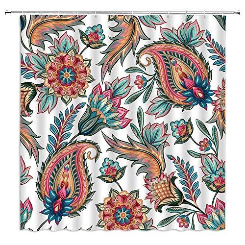 N\A Paisley Flower Duschvorhang Traditionelle orientalische ethnische Vintage Blumen abstrakte Polyester Stoff Badezimmer Dekor Set mit Hakenloch